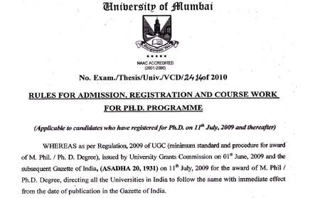 Admission details  - PhD